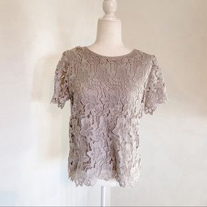 Philosophy Lace Crochet Gray Blouse Size Small